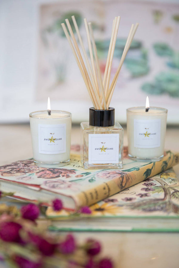 Candle Gift Set My Peaceful Home Gift Reed Diffuser with Aromatherapy Soy Wax Votive Set