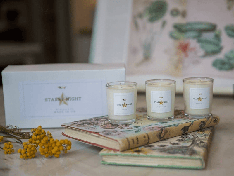 Candle Gift Set Starry Night Gift Votive Trio Scented Set Soy Wax Candles of Eucalyptus, Peppermint, Rosemary, Orange