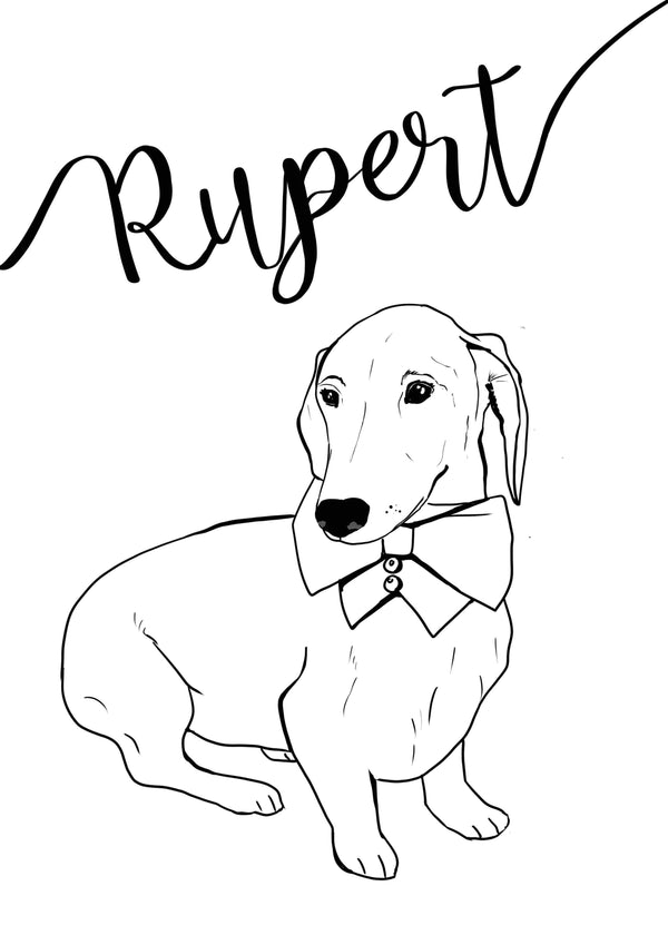 Artwork Personalised Dog Portrait, Monochrome