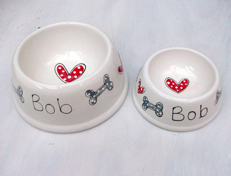 Dog Bowl Hearts and Bones / Small angled Personalised Dog Bowl