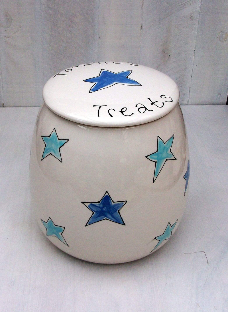 Dog Treat Jar Blue Stars / 1 litre Personalised Dog Treat Jar