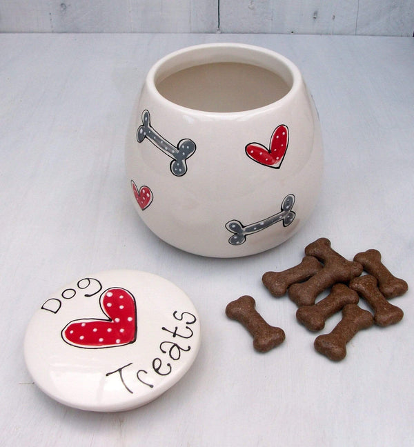 Dog Treat Jar Hearts and Bones / 1 litre Personalised Dog Treat Jar