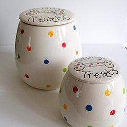 Dog Treat Jar Polka Dot / 1 litre Personalised Dog Treat Jar