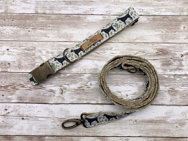 Dog Accessories Black Labrador Dog Collar and Lead Set