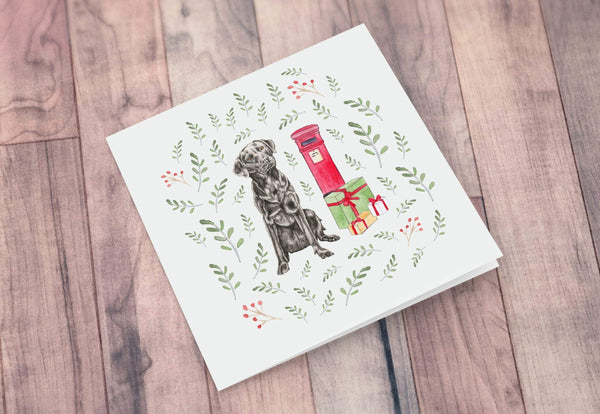 Greeting Card Black Labrador Christmas Card