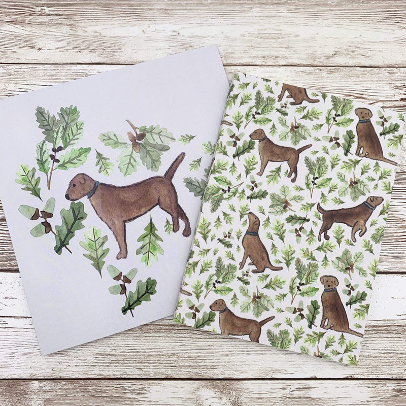 Letterbox Gift Sets Pocket Chocolate Labrador Notebook and Card Gift Set