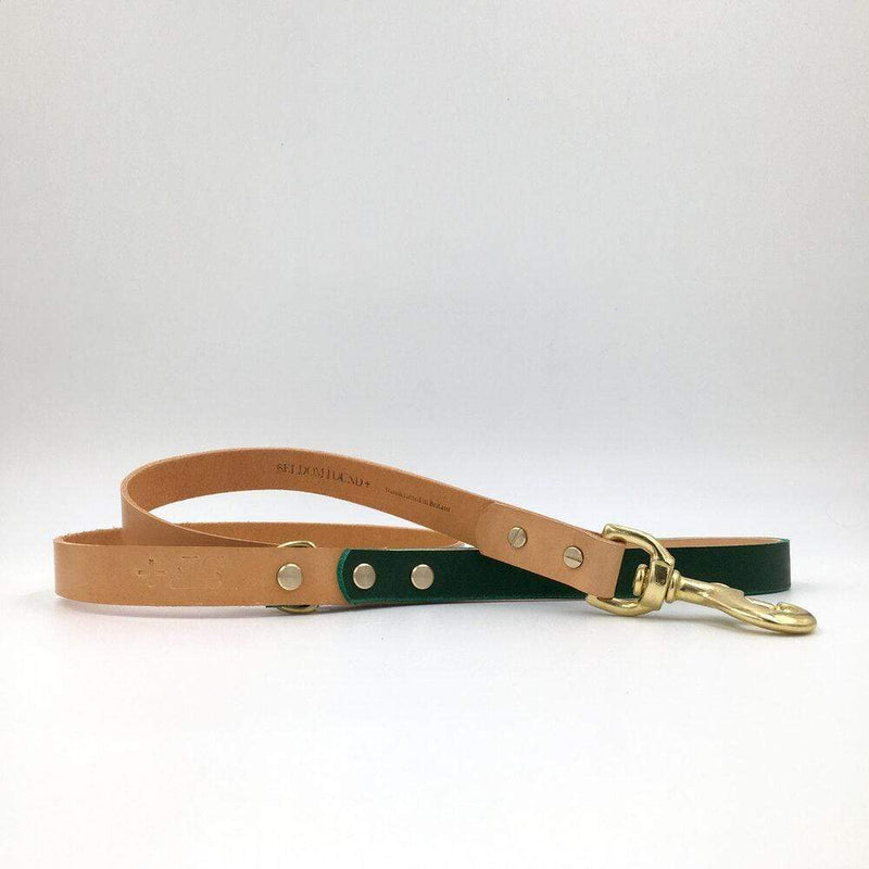 Dog Collar Forest Green and Natural Tan Artisan lead