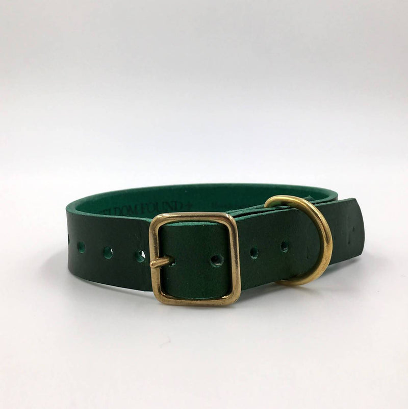 Dog Collar Puppy/sml breed Forest Green Artisan collar