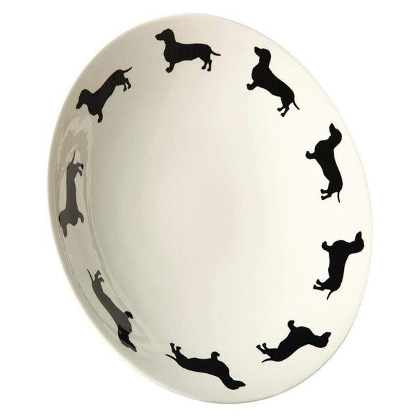Dachshund themed Large Shallow Bowl Smooth Haired Daxi