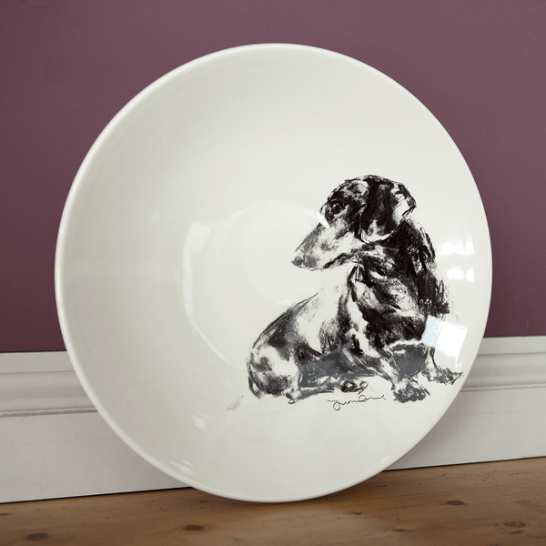 Dachshund themed Large Shallow Bowl with Seated Daxi