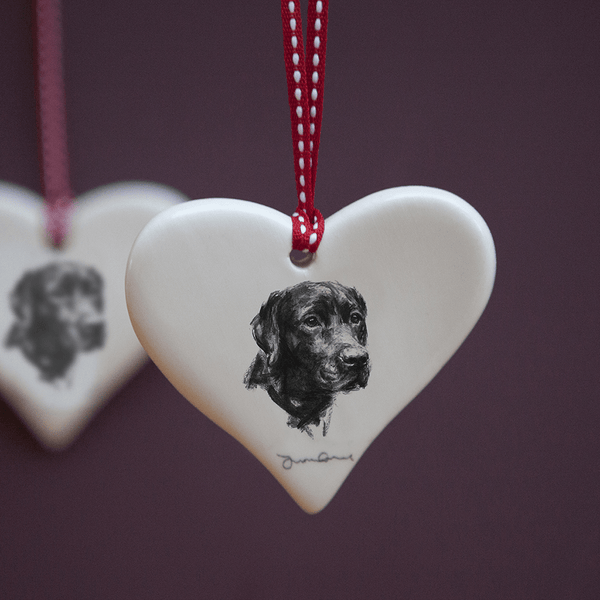 Hanging Decoration Black Labrador Ceramic Hanging Heart