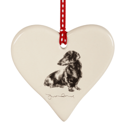 Hanging Decoration Dachshund Ceramic Hanging Heart