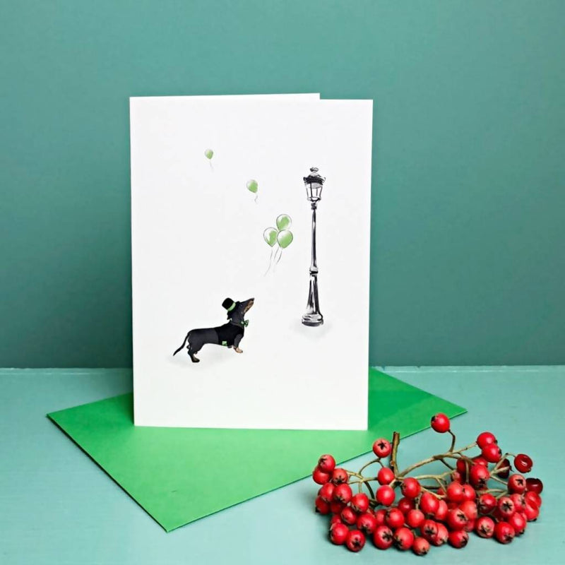 Greetings card Up & Away Dachshund Greetings Card