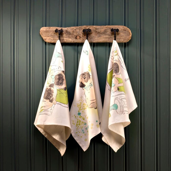 Tea towel Pug Playtime Tea Towel
