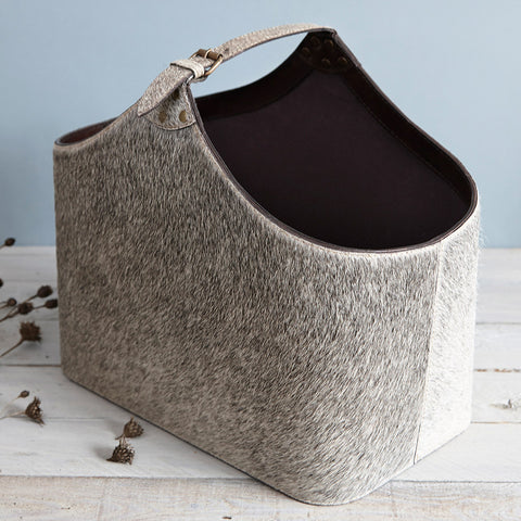 Buckled Cowhide Magazine Basket
