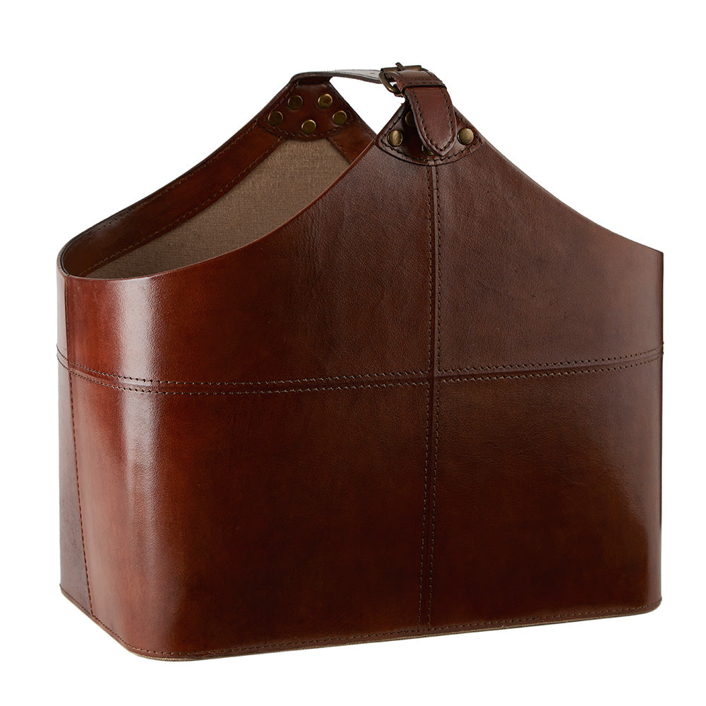 Leather Magazine Basket - Buckled