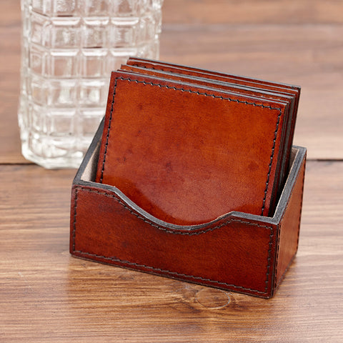 Square Leather Coaster Set