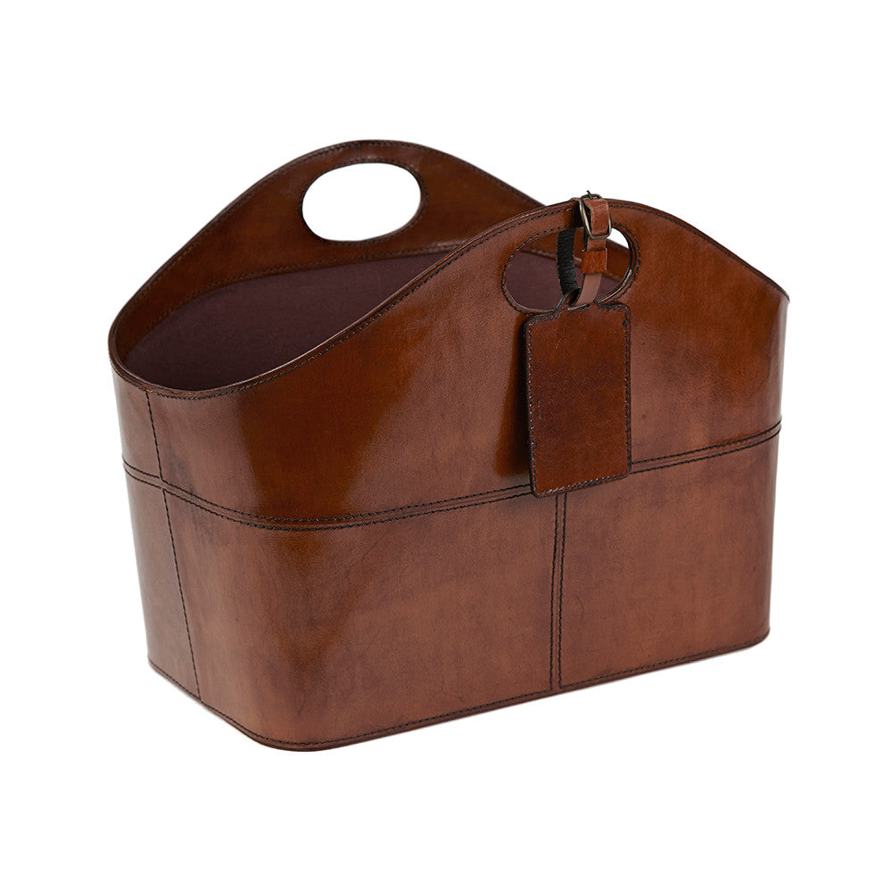 Leather Storage Basket - Curved