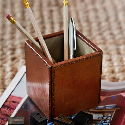 Leather Pen Pot - Square