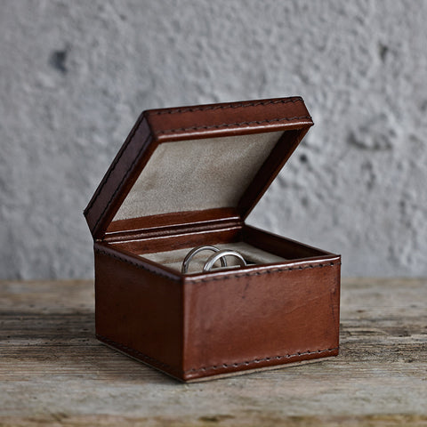 Two Slot Leather Ring Box