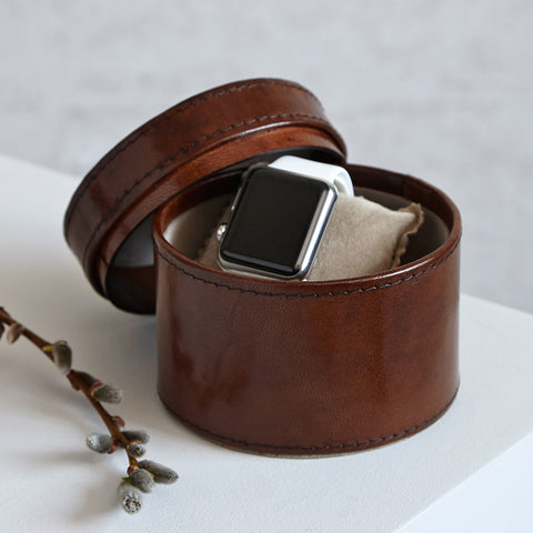 Round Leather Watch Box