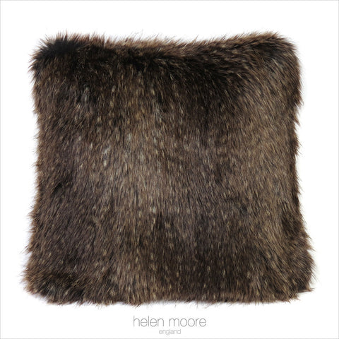 Brown Bear Faux Fur Square Cushion