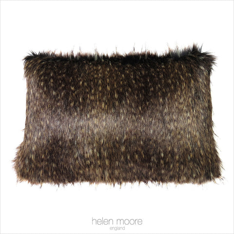 Brown Bear Faux Fur Rectangular Cushion