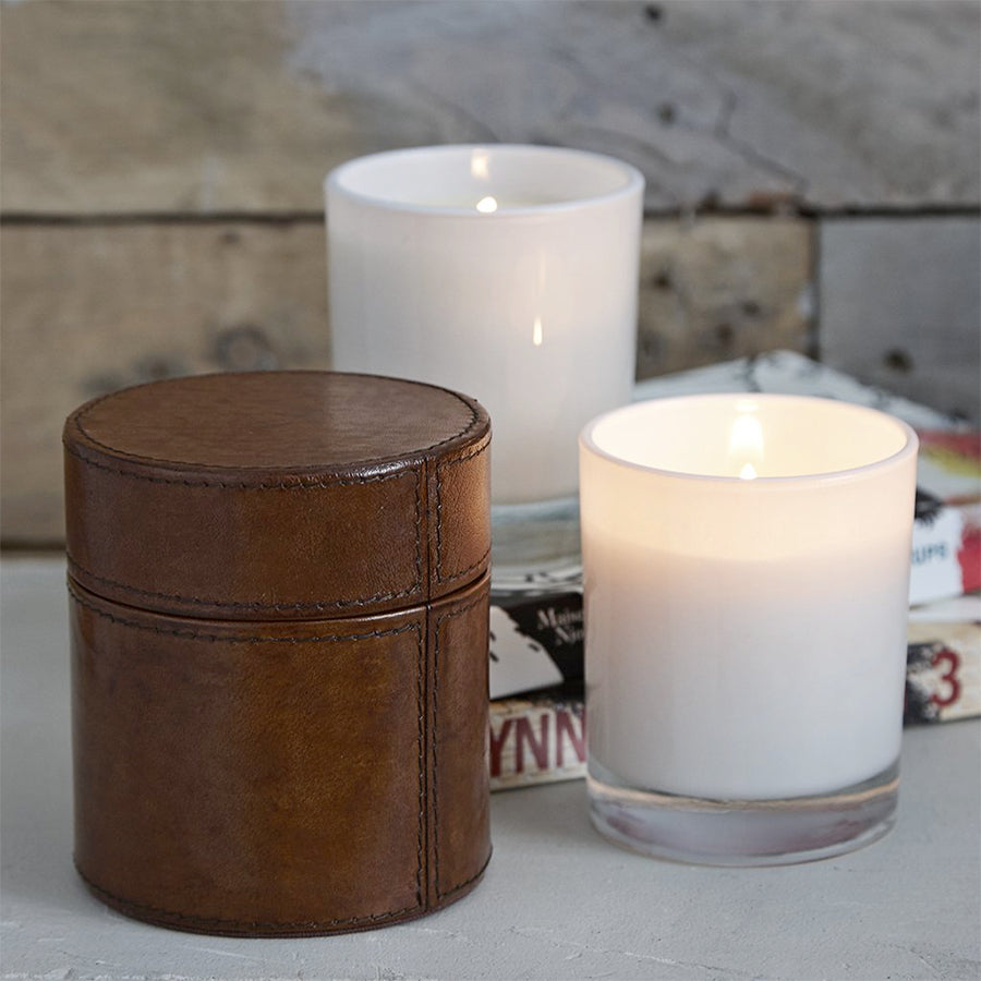 Leather Drum Candle Box