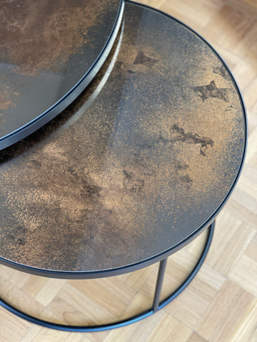 Bronze Copper Nesting Coffee Table Set