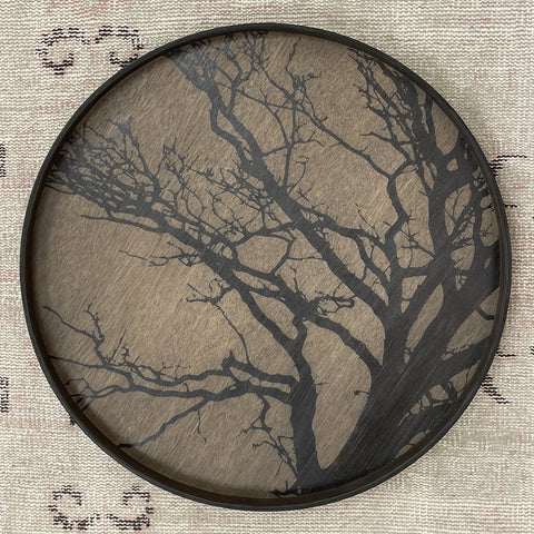 Black Tree Wooden Round Tray
