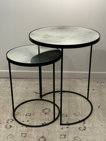 Heavy Aged Glass Nesting Tables