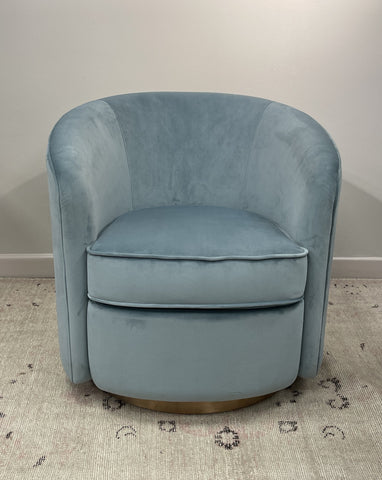 Swivel armchair - Aqua Velvet