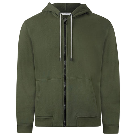 OLIVE GREEN JAPANESE LOOP WHEEL ZIP HOODIE