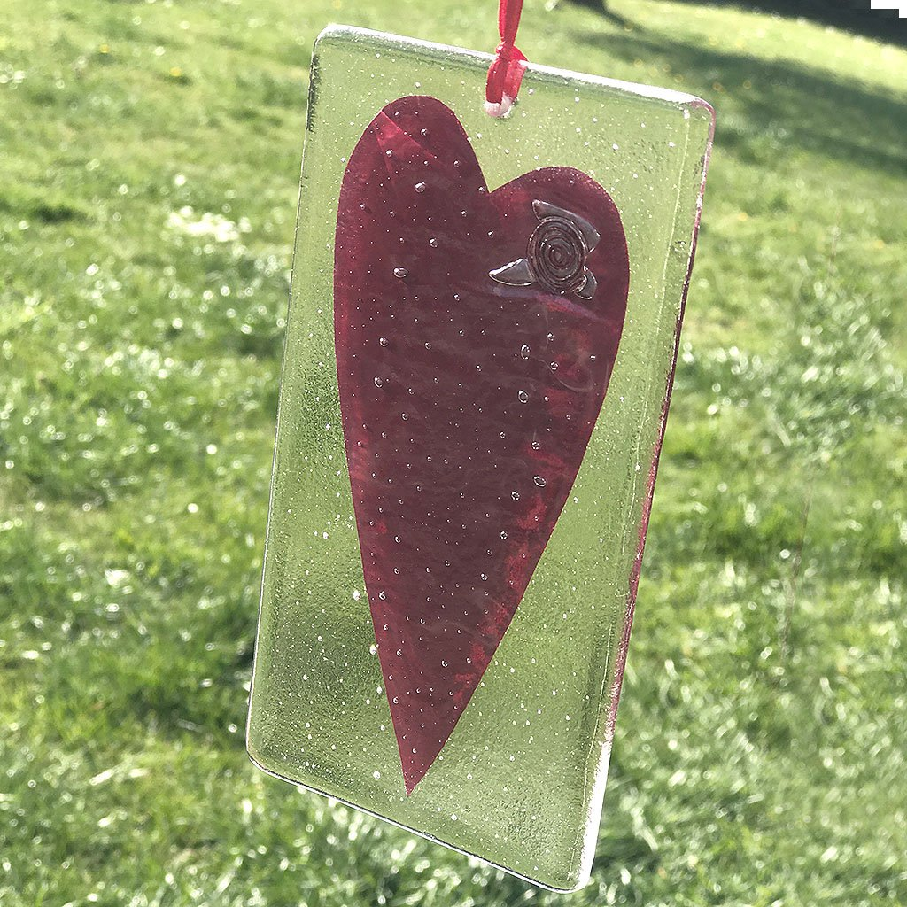 Handmade Heart Fused Glass Hanging