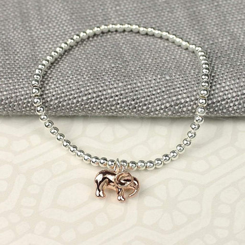 Silver Plated Bracelet with Rose Gold Elephant - insideout-home