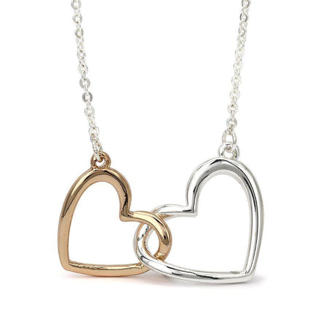 Silver Rose Gold Linked Hearts Necklace - insideout-home