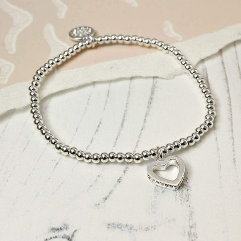 Silver Plated Crystal Edged Heart bracelet - insideout-home