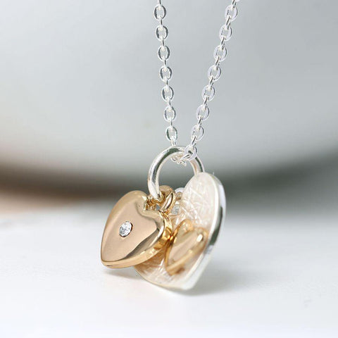 Silver And Gold Plated Double Heart Necklace - insideout-home
