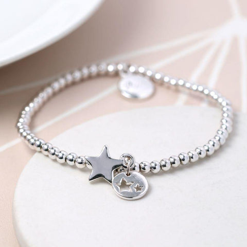 Silver Plated Double Star Charm Bracelet - insideout-home