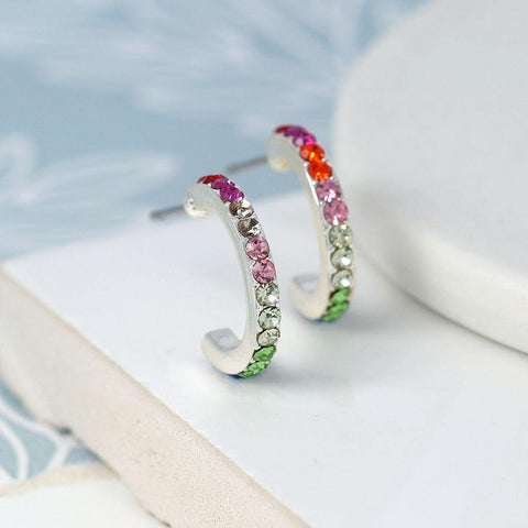Silver Plated Rainbow Crystal Hoop Earrings - insideout-home