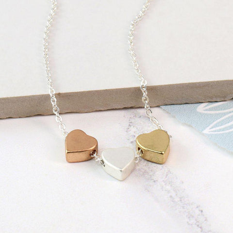 Triple Heart Mixed Finish Necklace - insideout-home