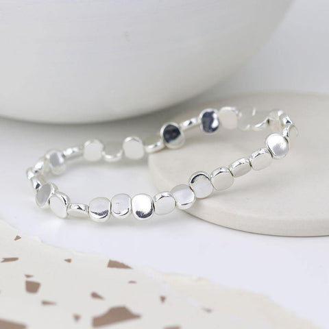 Silver Plated Beaded Stretch Bracelet - insideout-home