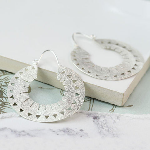 Silver Plated Cut-out Hoop Earrings - insideout-home