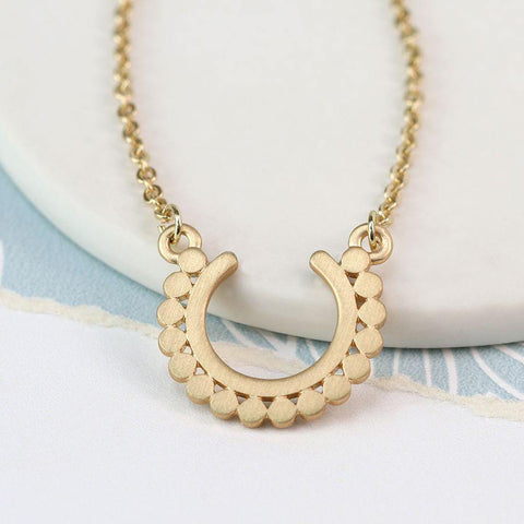 Scratched Gold Flat Dotty Necklace - insideout-home