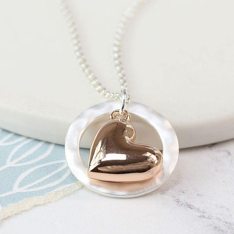 Rose Gold Plated Heart Silver Hoop Necklace - insideout-home