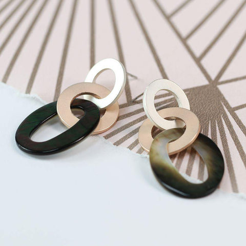 Mixed Metallic And Shell Triple Hoop Earrings - insideout-home
