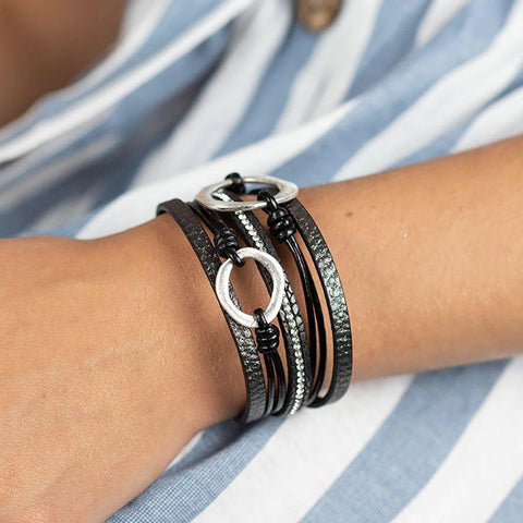 Black Wrap Bracelet With Scratched Silver Circles - insideout-home