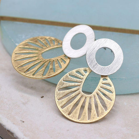 Golden Sun Disc Plated Earrings - insideout-home