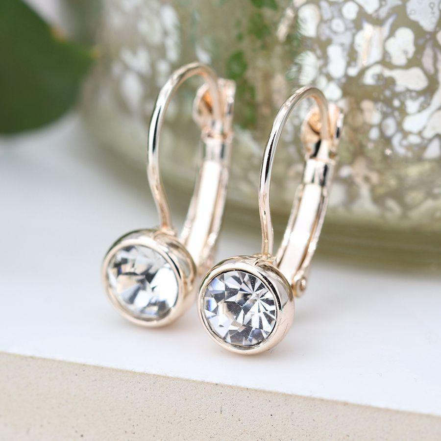 Rose Gold Plated And Clear Crystal Drop Earrings by  Insideout