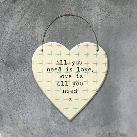 All You Need Is Love Hanging Heart - insideout-home
